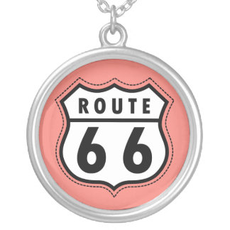 Coral Pink Route 66 sign Necklace