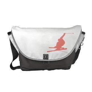 Coral Pink Ski Messenger Bags