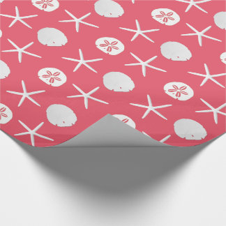 Coral Pink Starfish Sand Dollars Pattern Wrapping Paper