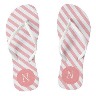 Coral Pink Striped Pattern Monogrammed Flip flops