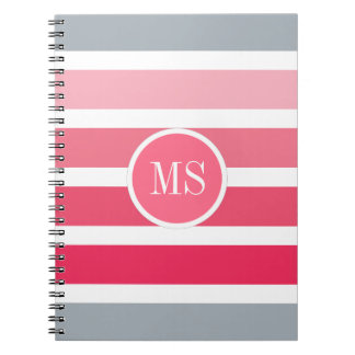 Coral Pink Stripes Monogram Pattern Spiral Note Book