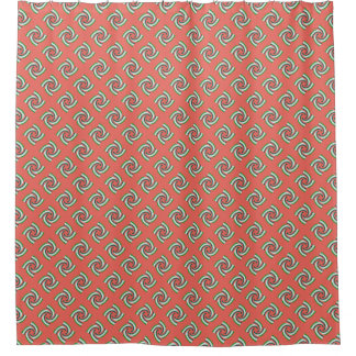 Coral Pink Teal Green Pattern Shower Curtain