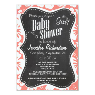 Coral Pink Tropical Hibiscus; Chalkboard look Invitations