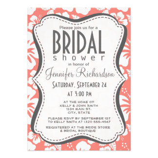 Coral Pink Tropical Hibiscus Custom Announcements