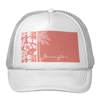 Coral Pink Tropical Hibiscus; Summer Palm Trucker Hat