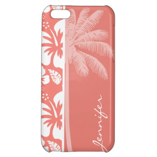 Coral Pink Tropical Hibiscus; Summer Palm iPhone 5C Cases