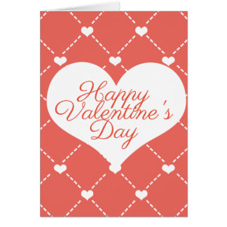 Coral Pink Valentine's White Hearts Card