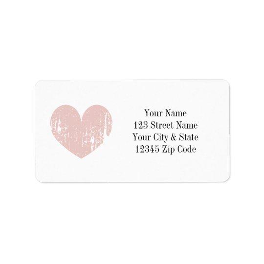 Coral pink vintage heart address labels