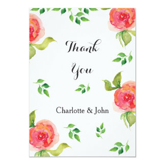 coral pink watercolor floral wedding Thank You 13 Cm X 18 Cm Invitation Card