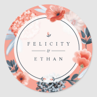 Coral Pink Watercolour Botanical Floral Wedding Classic Round Sticker