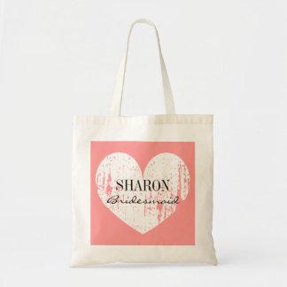 Coral pink weathered heart bridesmaid tote bag