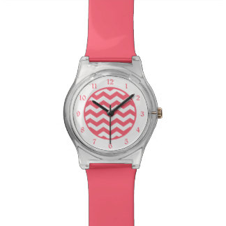 Coral Pink White Chevron Watches