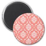 Coral Pink White Classic Damask Pattern
