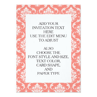 Coral Pink White Classic Damask Pattern 5.5x7.5 Paper Invitation Card