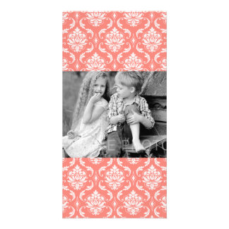 Coral Pink White Classic Damask Pattern Photo Card Template