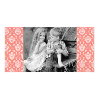 Coral Pink White Classic Damask Pattern Photo Card
