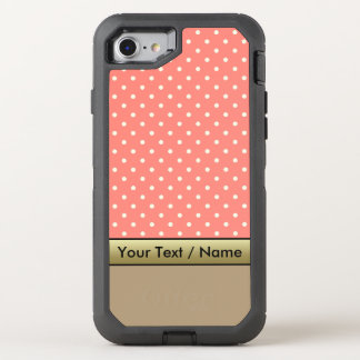 Coral Pink White Polka Dots On Starfish Brown OtterBox Defender iPhone 8/7 Case