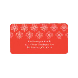 Coral pink + white snowflake winter address label