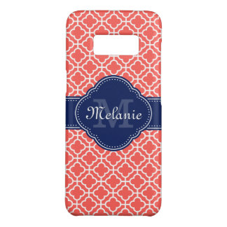 Coral Pink Wht Moroccan Pattern Navy Monogram Case-Mate Samsung Galaxy S8 Case