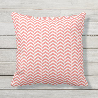 Coral Pink with Teal Chevron Pattern Outdoor Cushion