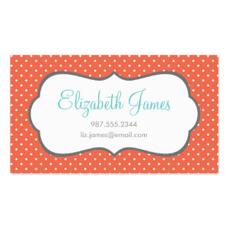 Coral Polka Dot Business Card Templates