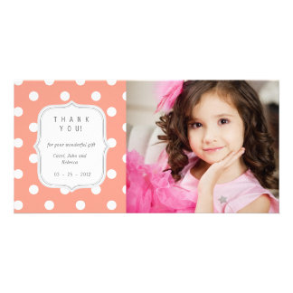 Coral Polka Dots - Any Occasion Thank you Photo Cards