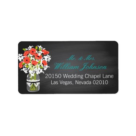 Coral Poppies Jar Chalkboard Wedding Label Address Label