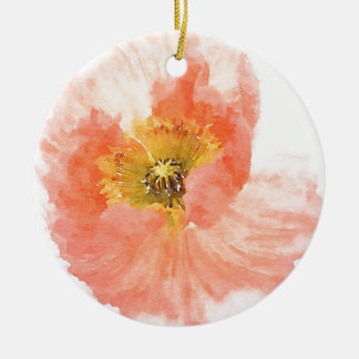 Coral Poppy Ceramic Ornament