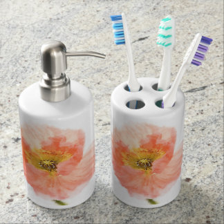 Coral Poppy Soap Dispenser And Toothbrush Holder