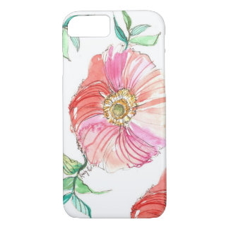 Coral Poppy Watercolor iPhone 7 case