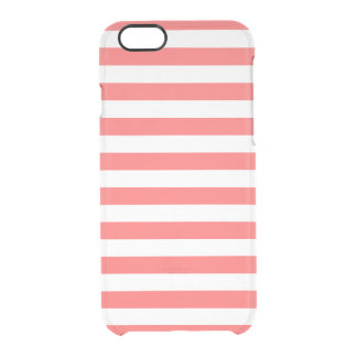 Coral Preppy Stripes Clear iPhone 6/6S Case