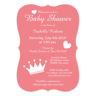 Coral princess crown baby shower invitations