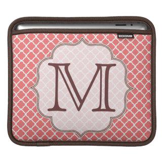 Coral Quaterfoil Latti Monogram IPAD Laptop Bag iPad Sleeves