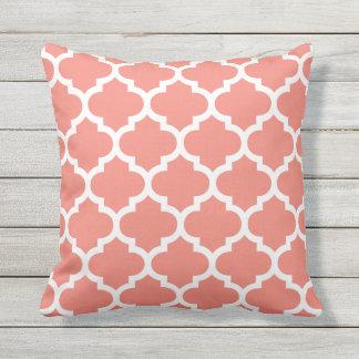 Coral Quatrefoil Pattern Outdoor Pillows
