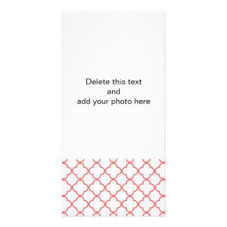 Coral Quatrefoil Pattern Photo Cards