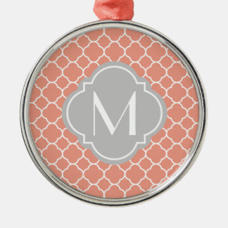 Coral Quatrefoil Pattern with Monogram Silver-Colored Round Decoration