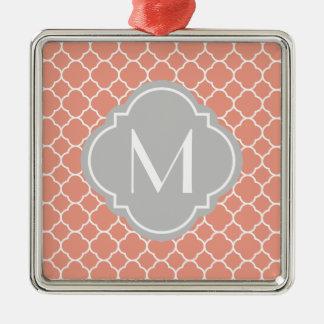 Coral Quatrefoil Pattern with Monogram Silver-Colored Square Decoration