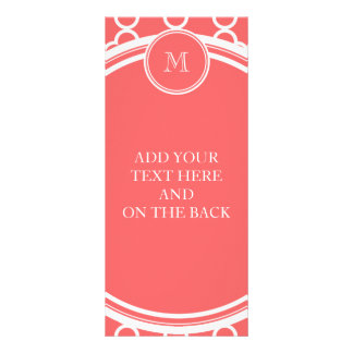 Coral Quatrefoil Pattern, Your Monogram Rack Cards