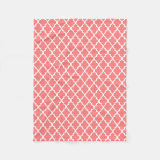 Coral Quatrefoil Tiles Pattern Fleece Blanket