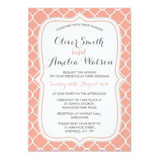 Coral Quatrefoil Wedding Invitation