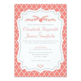 Coral Quatrefoil Wedding Invitations
