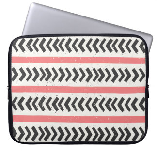 Coral Red and Black Geometric Tribal Pattern Laptop Sleeve