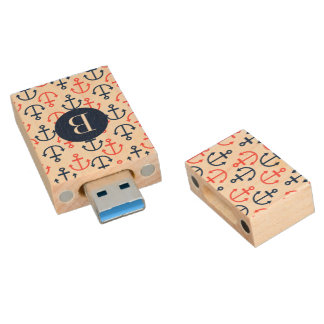 Coral-Red And Blue Nautical Boat Anchors Wood USB 3.0 Flash Drive