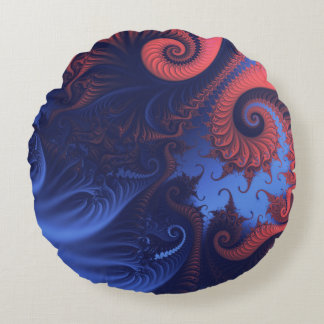 Coral red and indigo blue tentacles round cushion