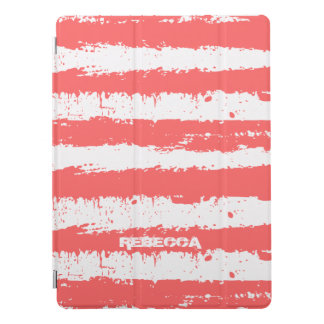 Coral-Red And White Grunge Stripes Pattern iPad Pro Cover