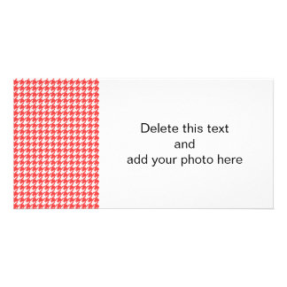 Coral Red and White Houndstooth Pattern Picture Card