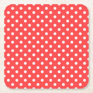 Coral Red and White Polka Dot Pattern Square Paper Coaster
