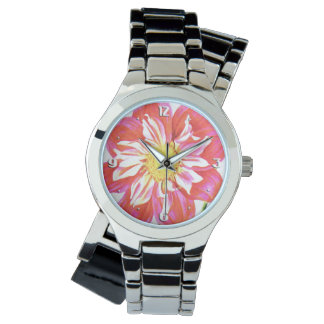 Coral red and white striped dahlia print watches
