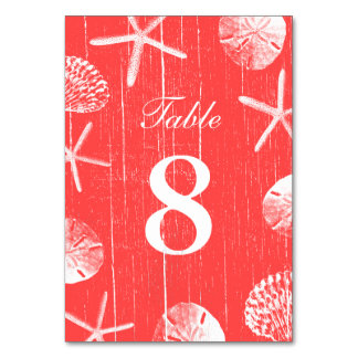 Coral Red Beach Theme Seashells Table Numbers