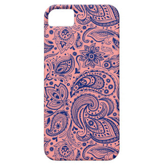 Coral-Red & Blue Vintage Floral Paisley Pattern iPhone 5 Covers